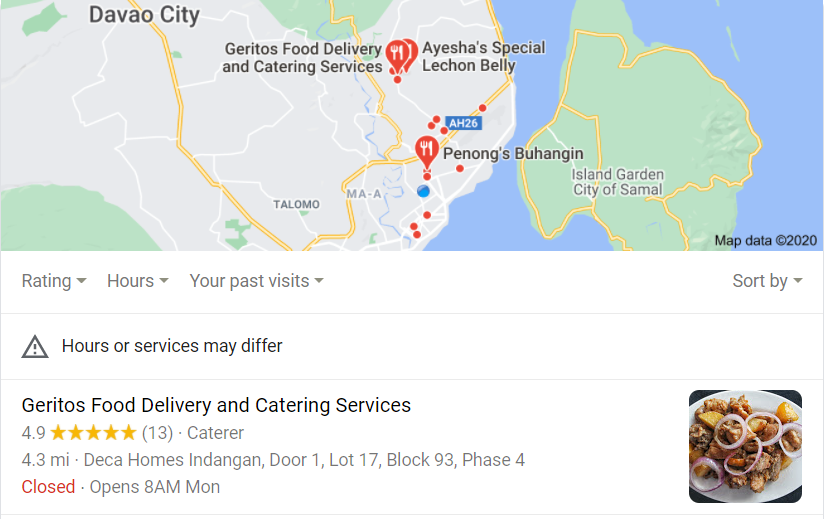 Google Local Map - Geritos Food Delivery and catering Services