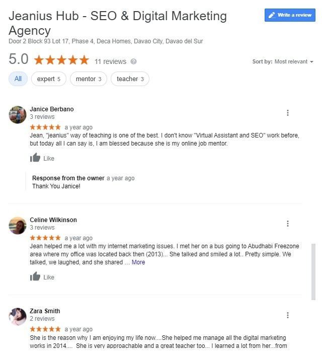 jeanius seo reviews davao