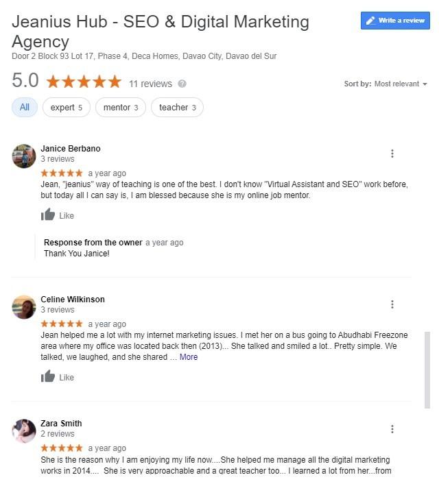 jeanius seo reviews davao