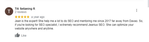 SEO TRAINING DAVAO REVIEW BY TITI